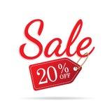 vol. Gesetztes Rot des Zeichens mit 3 Verkäufen auf weißem Hintergrund 20 Prozent heruntergesetzt headi Stockbilder