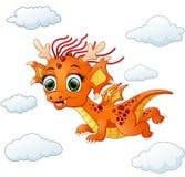 Vol heureux de bande dessinée de dragon illustration stock