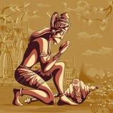 Vol indien de Hanuman de Dieu avec la montagne Photographie stock libre de droits