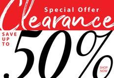 vol. Liquidation 5 conception de titre de 50 pour cent pour la bannière ou le PO illustration stock
