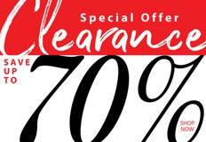 vol. Liquidation 5 conception de titre de 70 pour cent pour la bannière ou le PO Illustration Stock