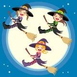 Vol mignon de groupe de sorcières illustration de vecteur