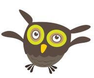 Vol mignon de hibou de dessin animé Photographie stock libre de droits