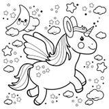 Vol mignon de licorne dans le ciel nocturne Page noire et blanche de livre de coloriage Photographie stock