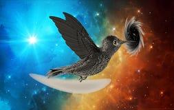 Vol noir abstrait artistique d'oiseau dans un trou noir à un arrière-plan coloré de nébuleuse illustration de vecteur