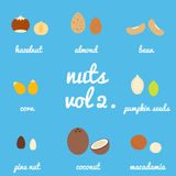 Vol 2. nuts and seeds icon set Stock Images