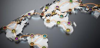 Vol ou réseau Internet sur la carte du monde 3D illustration 3D Photo stock