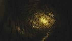 Vol par le tunnel abstrait fait de briques d'or rendu 3d illustration stock
