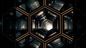 Vol par le tunnel foncé d'hexagone abstrait avec la texture d'animation et la lumière orange en acier faites une boucle De dessou illustration de vecteur