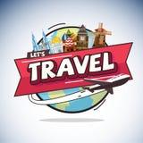 Vol plat autour du monde avec le point de repère de ville concept de course Photo stock