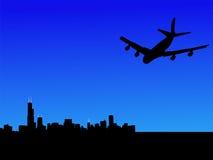 Vol plat vers Chicago illustration de vecteur