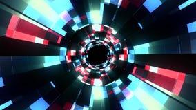 Vol qualité de boucle sans couture de fond d'animation de graphiques de mouvement de tunnel de vr de données de cyber de lampes a illustration libre de droits