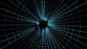 Vol qualité de cyber de grille de lampes au néon de nouvelle de tunnel de mouvement de graphiques d'animation de boucle sans cout illustration libre de droits