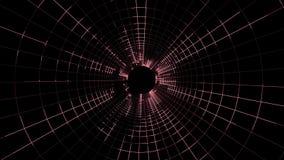 Vol qualité de cyber de grille de lampes au néon de nouvelle de tunnel de mouvement de graphiques d'animation de boucle sans cout illustration de vecteur