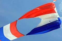 Vol rouge, blanc et bleu de cerf-volant un jour d'été Images libres de droits
