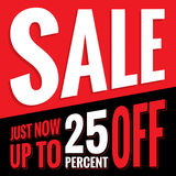Vol.2 Sale sign set red and black 25 percent heading design for Royalty Free Stock Photos