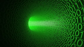 Vol sans fin par le tunnel vert abstrait fait avec des zéros et ceux Fond de pointe de mouvement service informatique, données bi illustration de vecteur