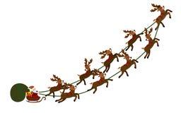 Vol Santa dans un traîneau avec des cerfs communs Illustration de Noël de Santa Claus dans un chariot et un sac des cadeaux An ne Image stock