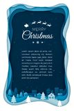 Vol Santa sur le ciel nocturne dans la ville de ville Art d'exposé introductif de vacances d'hiver Illustration de style de coupe illustration de vecteur