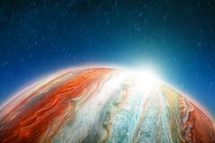 Vol spatial le long de l'orbite de Jupiter dans la rotation du ciel et des étoiles, lumière sur l'horizon de la planète Éléments  Photographie stock libre de droits