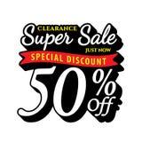 Vol. Super Sale 50 percent heading design black old school style Stock Photography