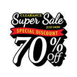 Vol. Super Sale 70 percent heading design black old school style Royalty Free Stock Photos