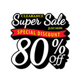 Vol. Super Sale 80 percent heading design black old school style Royalty Free Stock Photos