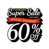 Vol. Super Sale 60 percent heading design black old school style Royalty Free Stock Photography