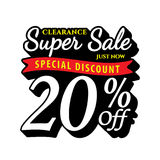 Vol. Super Sale 20 percent heading design black old school style Stock Photos
