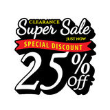 Vol. Super Sale 25 percent heading design black old school style. For banner or poster. Sale and Discounts Concept. Vector illustration Stock Images