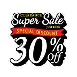 Vol. Super Sale 30 percent heading design black old school style Stock Image