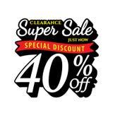 Vol. Super Sale 40 percent heading design black old school style Stock Image