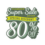 Vol. 2 Super Sale 80 percent heading design vintage style  for b Stock Image