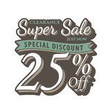 Vol. 2 Super Sale 25 percent heading design vintage style  for b. Anner or poster. Sale and Discounts Concept. Vector illustration Stock Photo