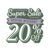 Vol. 2 Super Sale 20 percent heading design vintage style  for b. Anner or poster. Sale and Discounts Concept. Vector illustration Stock Photo
