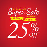 Vol. 1 Super Sale red 25 percent heading design for banner or po. Ster. Sale and Discounts Concept. Vector illustration Stock Photo