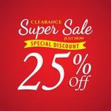 Vol. 1 Super Sale red 25 percent heading design for banner or po Stock Photo