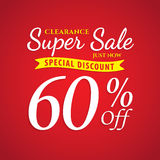 Vol. 1 Super Sale red 60 percent heading design for banner or po. Ster. Sale and Discounts Concept. Vector illustration Royalty Free Stock Images