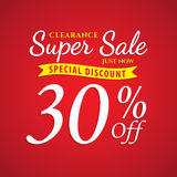 Vol. 1 Super Sale red 30 percent heading design for banner or po Royalty Free Stock Photography