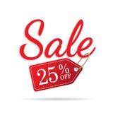 vol Vermelho ajustado do sinal de 3 vendas no fundo branco 25 por cento fora do headi Fotografia de Stock