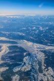 Vol vers la Madère au-dessus de l'Espagne Photographie stock libre de droits