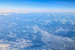 Vol vers la Madère au-dessus de l'Espagne Images stock