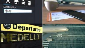 Vol vers Medellin Déplacement à l'animation conceptuelle de montage de la Colombie banque de vidéos