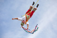 Voladores performing flying men show. Royalty Free Stock Photography