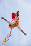 Voladores performing flying men show. Stock Image