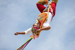Voladores performing flying men show. Royalty Free Stock Images