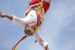 Voladores performing flying men show. Stock Images