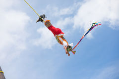 Voladores performing flying men show. Stock Photography