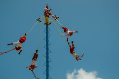 Voladores. Voladore dancers in tulum mexico Royalty Free Stock Photography