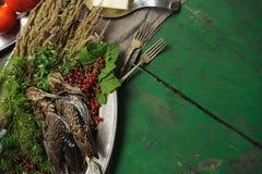 Volailles sauvages de chasse dans la cuisson Mensonge du coup de feu deux ou de la bécasse des bois sur le plat en métal Chasse d photos libres de droits